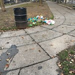 Overflowing Trash Can at 352 356 Bunker Hill St, Charlestown