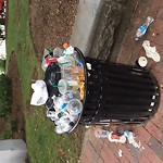 Overflowing Trash Can at City Square Charlestown Boston