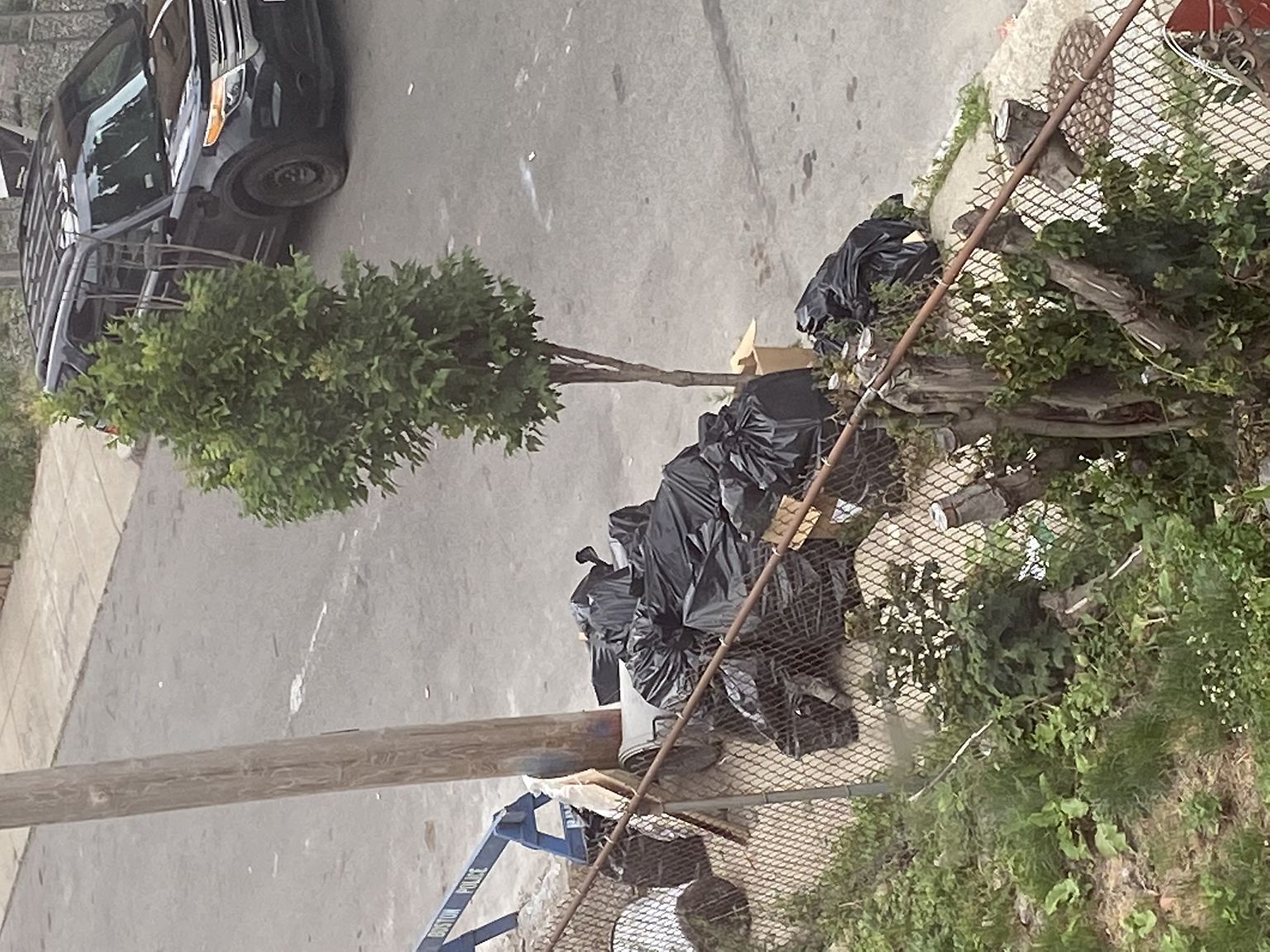 There trash is dumped in front of another's property after pickup of trash. Not the first time.