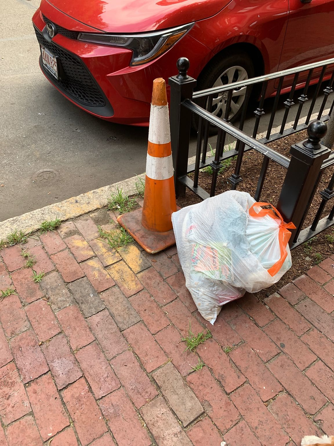 Trash and a street cone