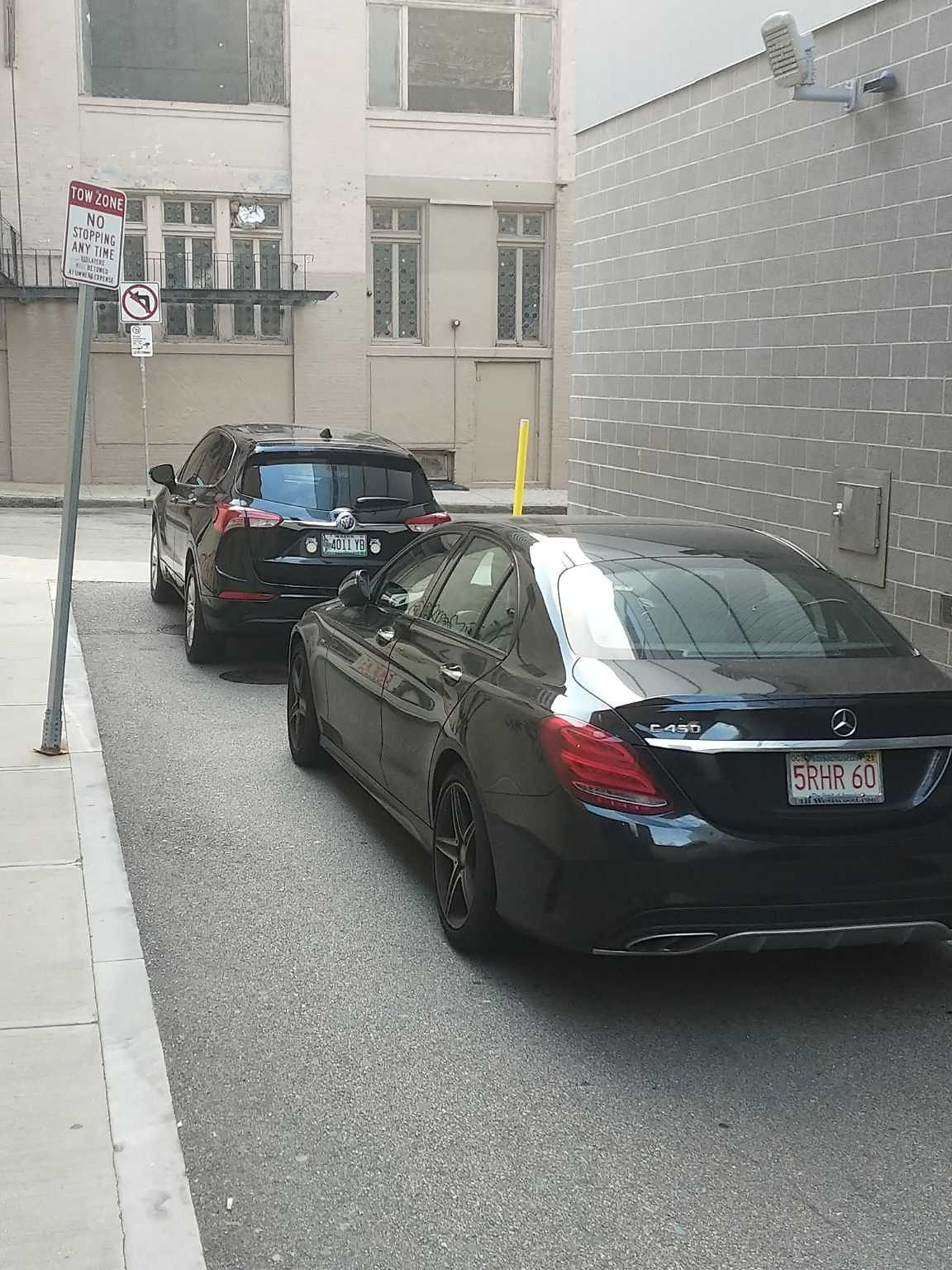 Flagrently, illegally parked cars