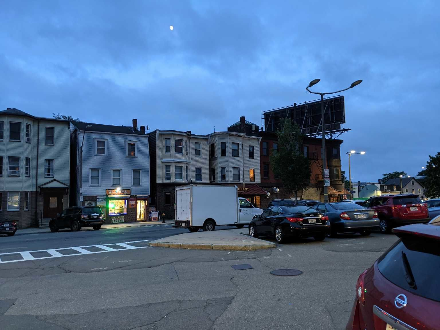 Two street lights out on Chelsea St/Shelby St/Saratoga St in the plaza by the gas station and by Jevelli's in East Boston