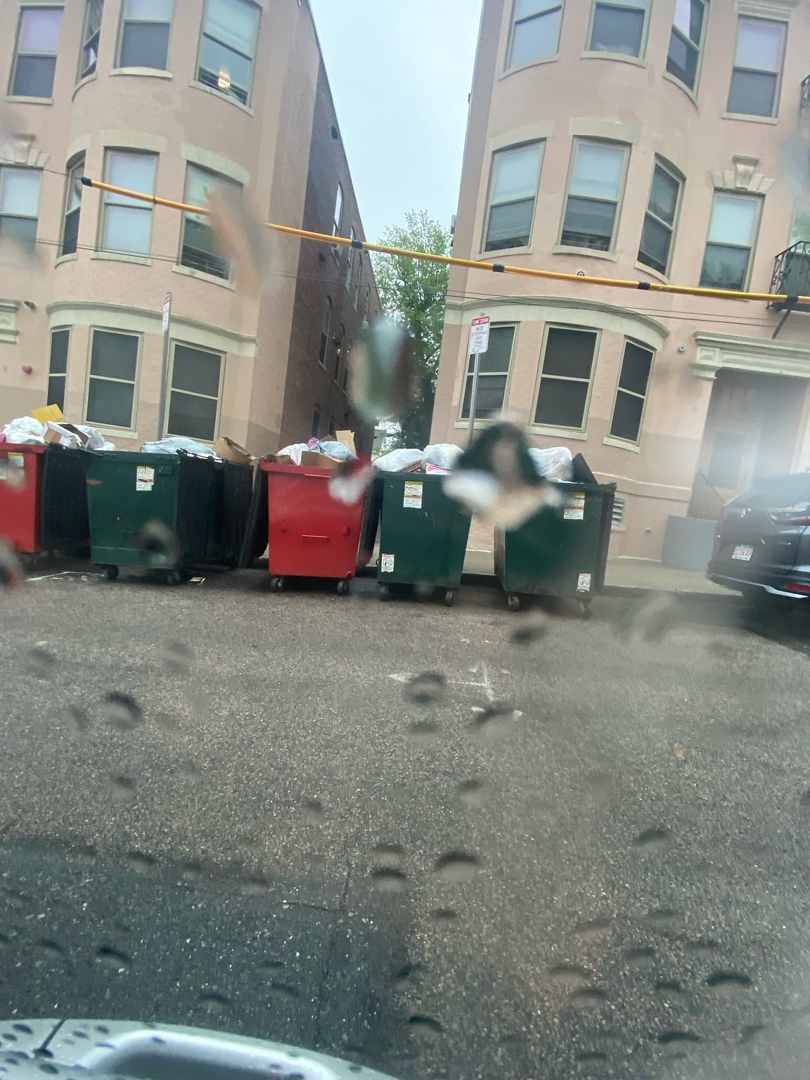 So recently signs were put up on a very tight street parking wise..no parking between 7am-noon on tuesdays. These trash dumpsters are put out Monday morning and will remain till Wednesday afternoon. It isn't fair, especially in the heat of the…