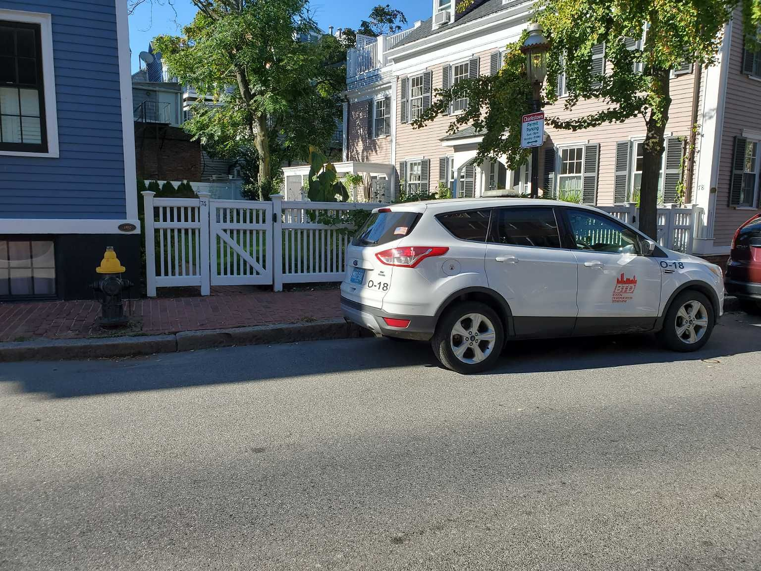 Illegally parked, parking ticket persons car...
