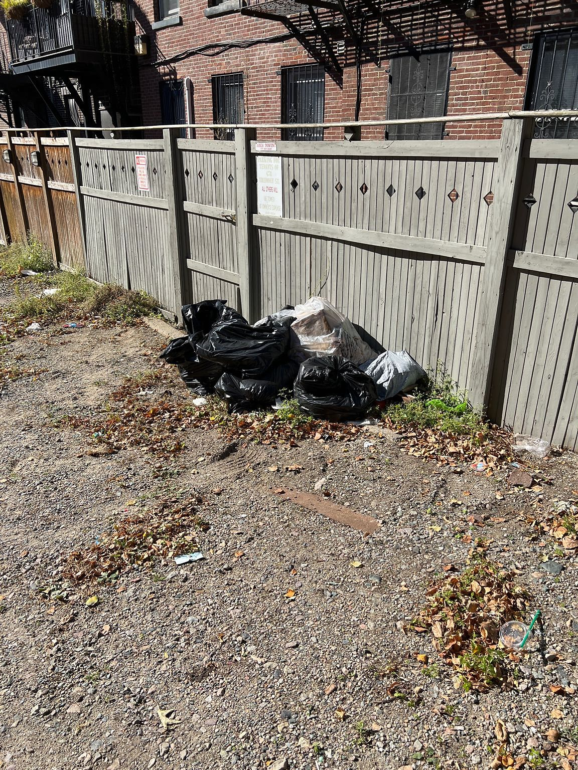 8 bags of trash have been dumped at the rear of 678 Tremont Street and have been left for 2+ weeks.