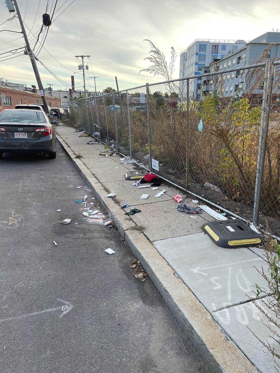 Trade all over the sidewalk (in addition to the lot being totally unmaintaned and disgusting)