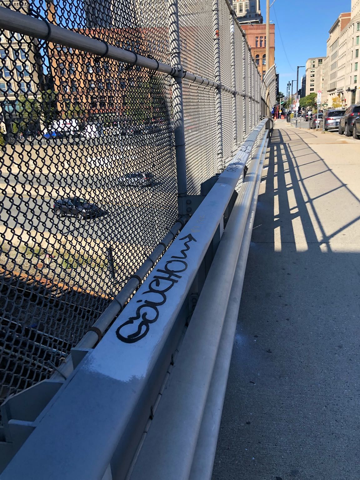 Both railings on Berkeley that go over 90 have tons of graffiti on them. Please correct both sides thanks